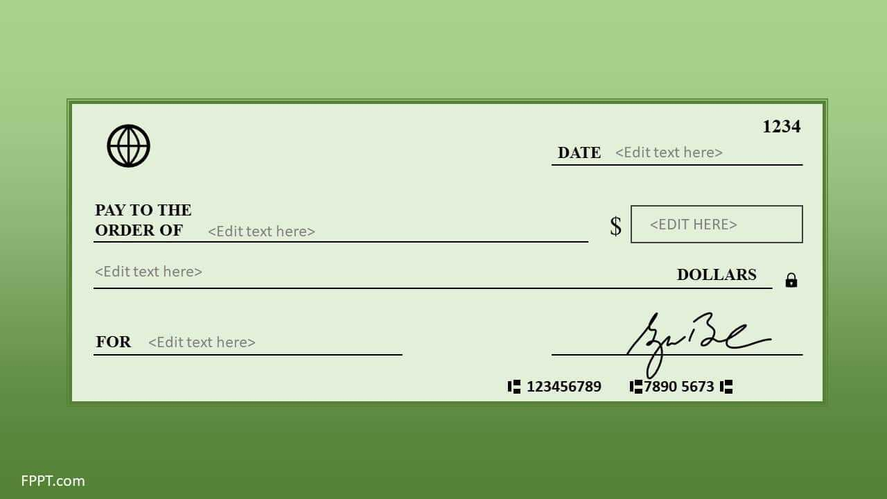 Free Blank Check Template For Powerpoint - Free Powerpoint Throughout Editable Blank Check Template