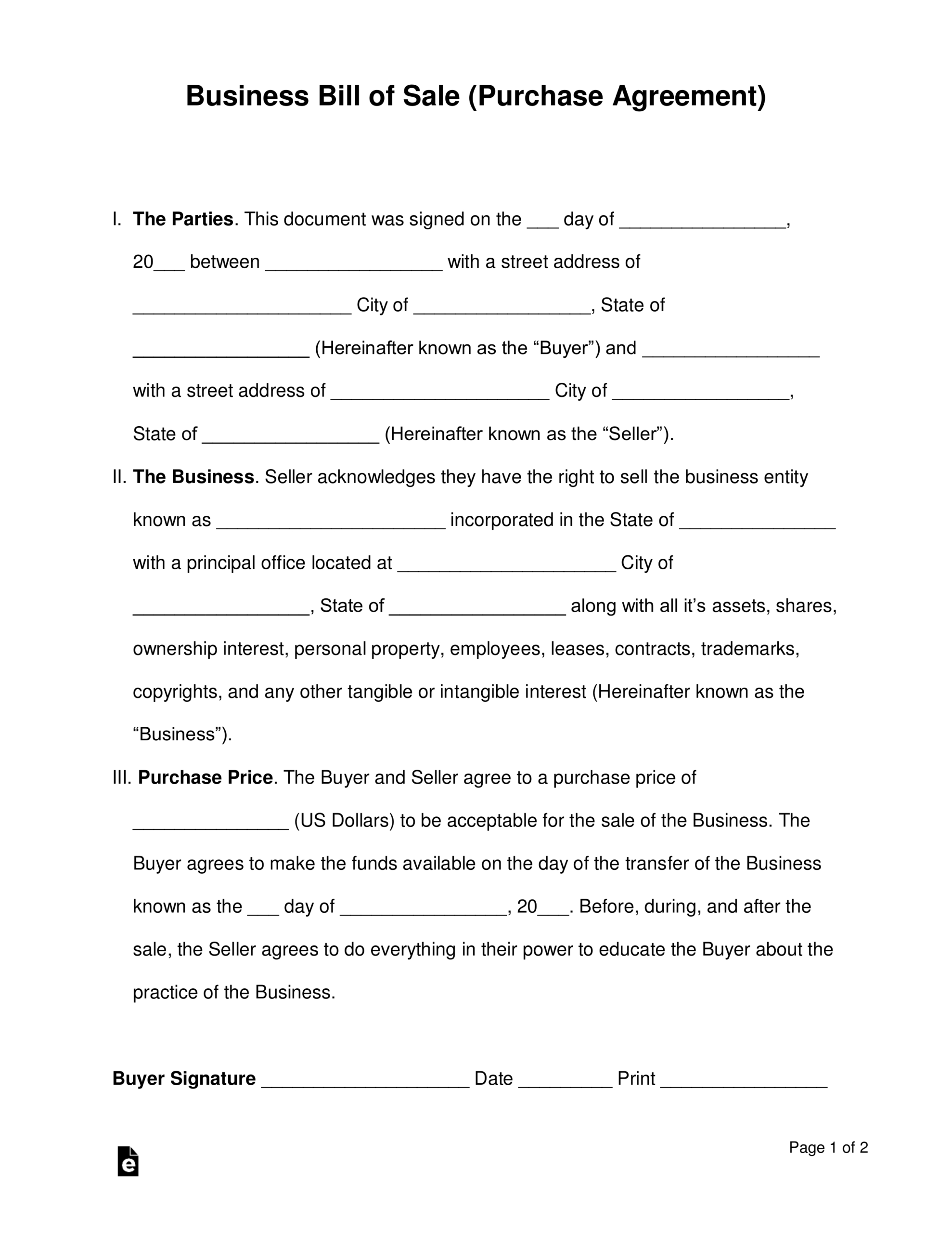 Free Business Bill Of Sale Form (Purchase Agreement) - Word In Free Business Purchase Agreement Template