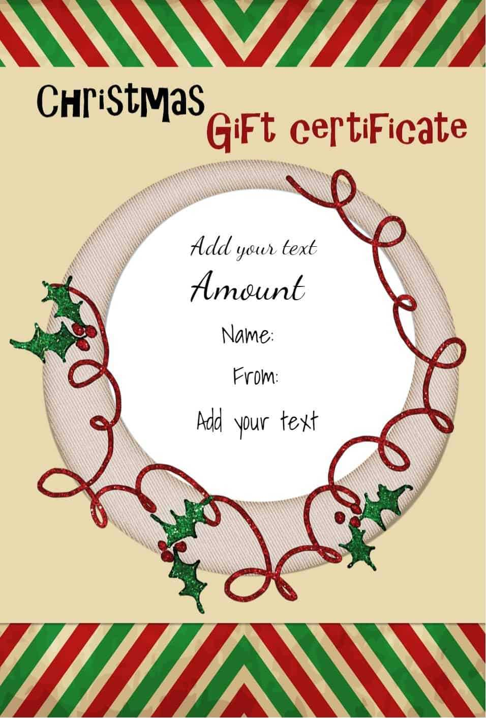 Free Christmas Gift Certificate Template | Customize Online Throughout Free Christmas Gift Certificate Templates