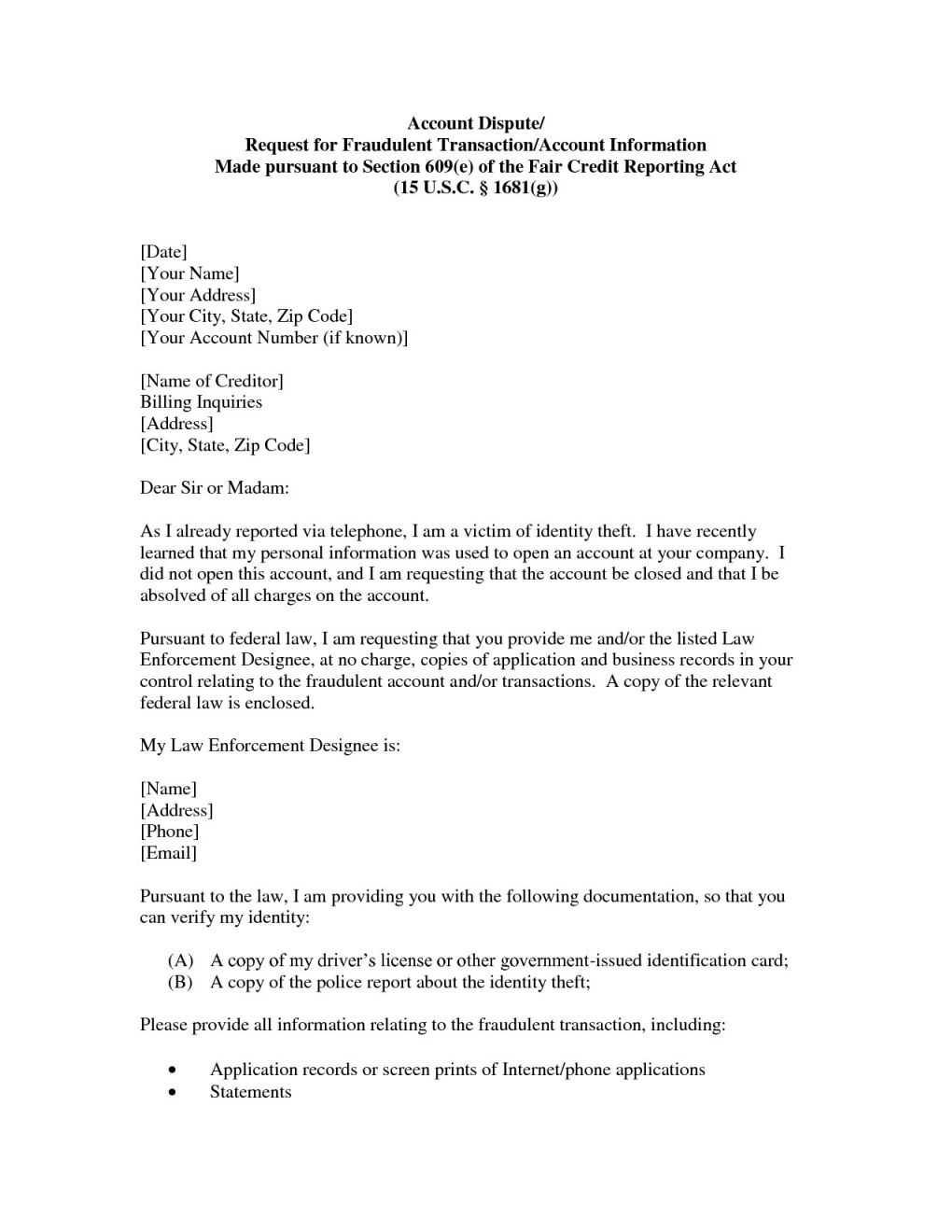 Free Credit Report Dispute Letter Template Hard Inquiries With Regard To Credit Dispute Letter Template