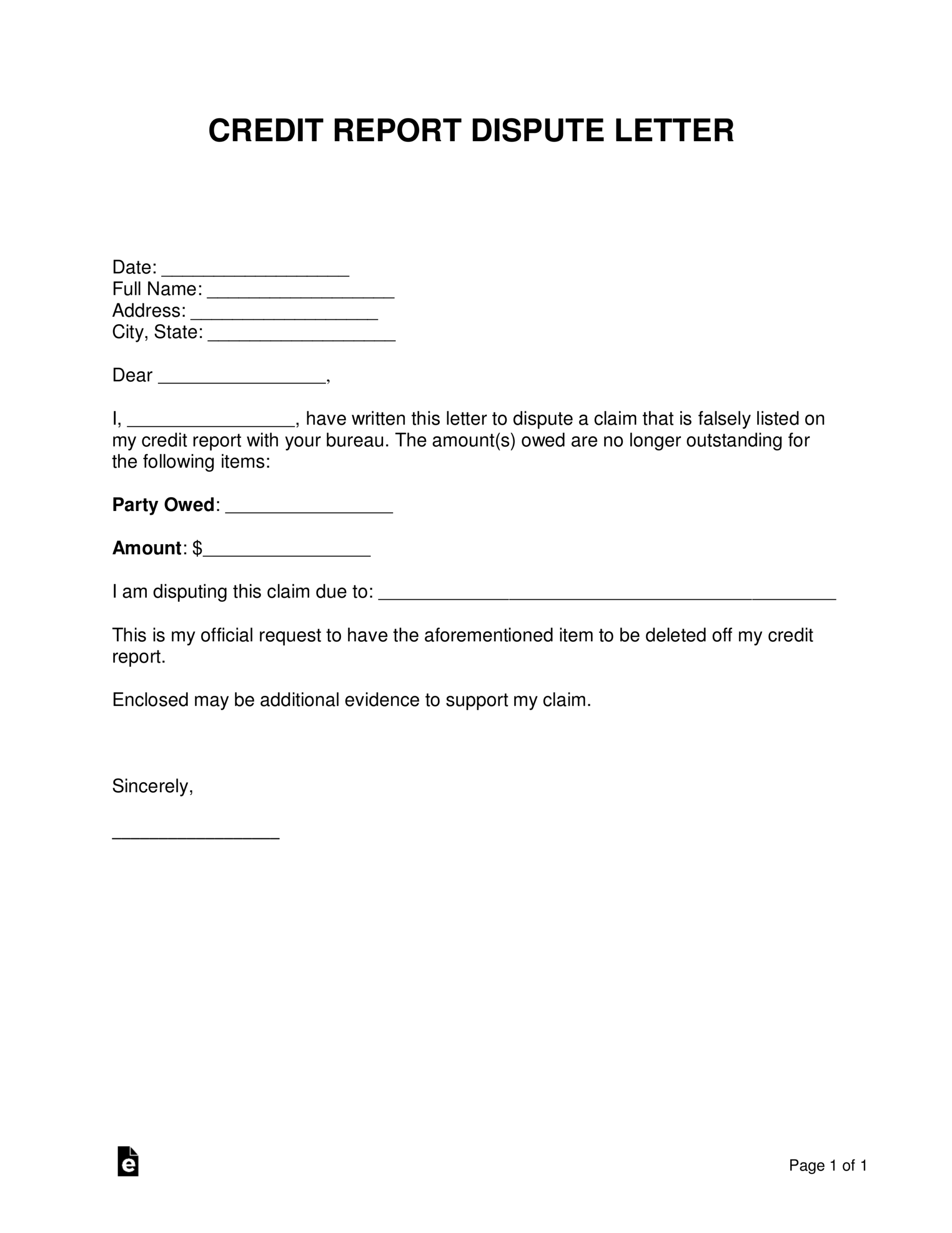 Free Credit Report Dispute Letter Template - Sample - Word For Dispute Letter To Creditor Template