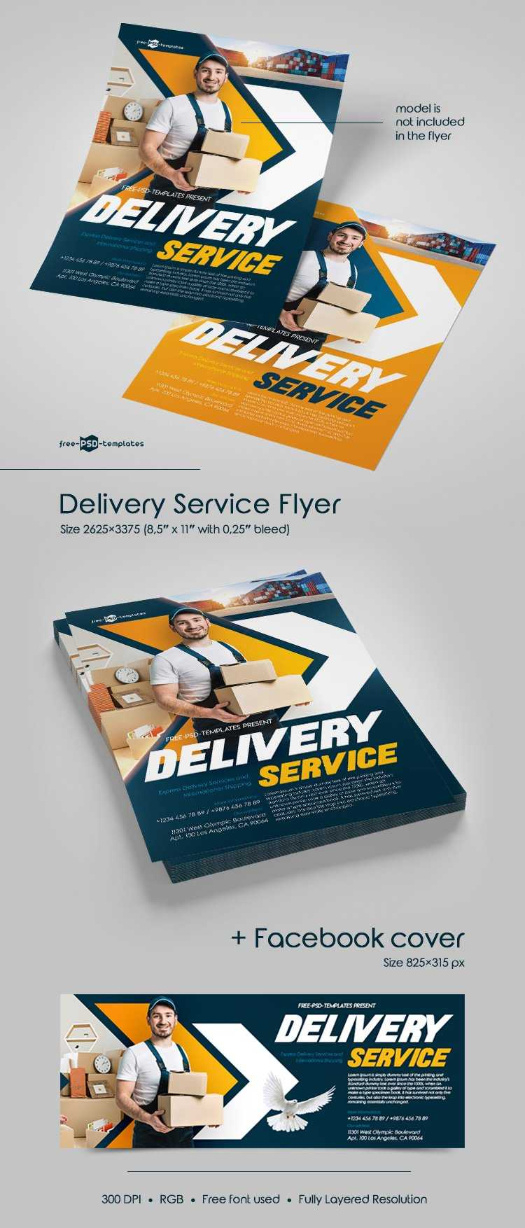 Free Delivery Service Flyer In Psd | Free Psd Templates Intended For Delivery Flyer Template
