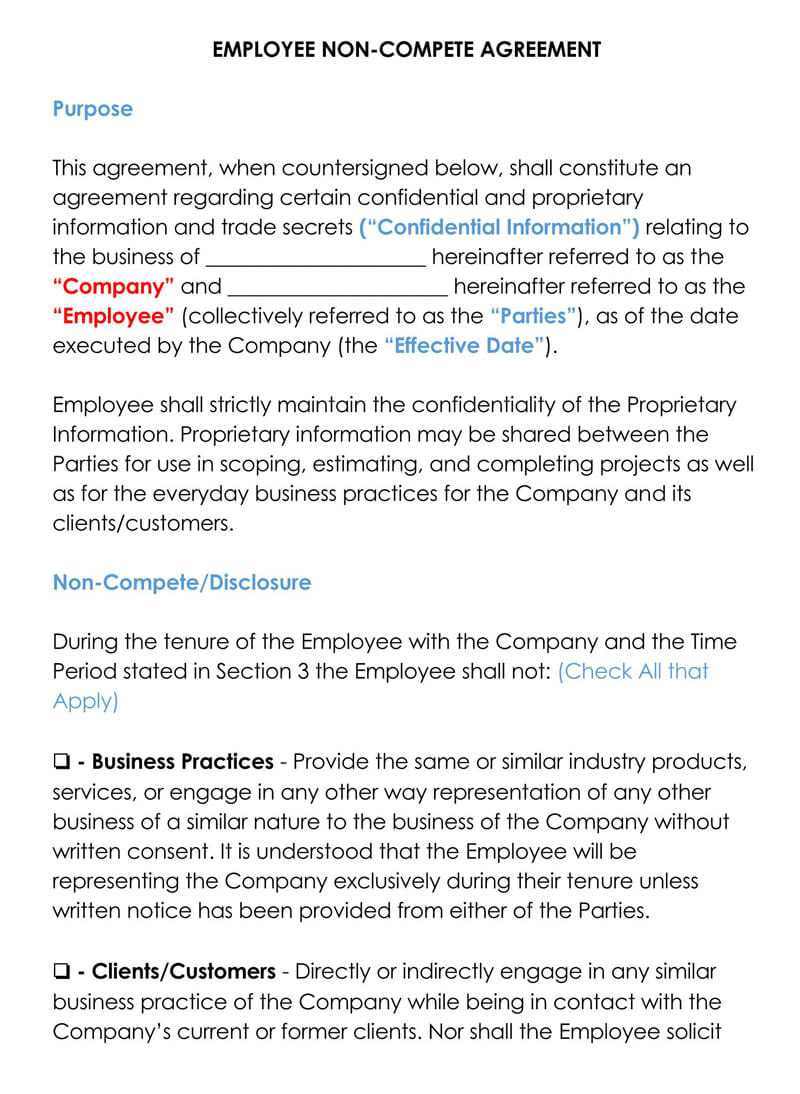 Free Employee Non Compete Agreement Templates (Word & Pdf) Regarding Employee Non Compete Agreement Template