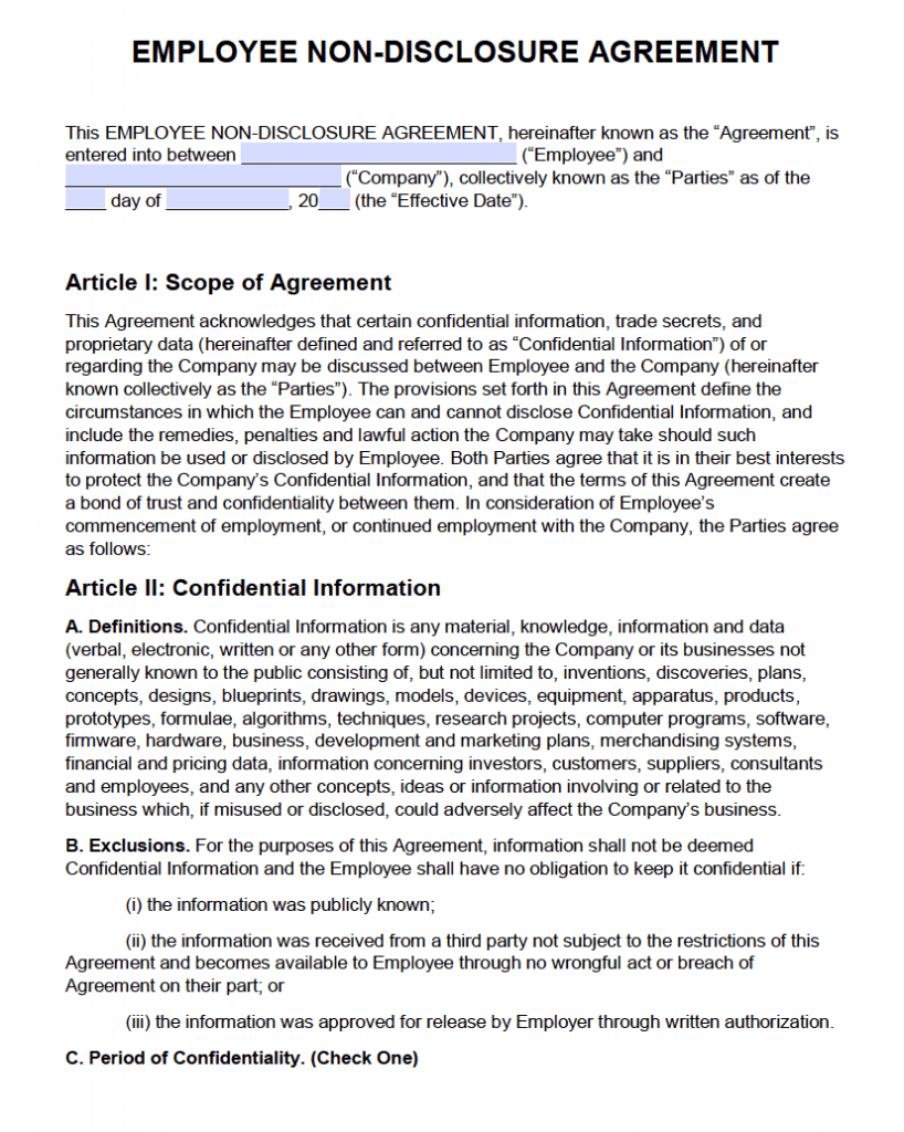 Free Employee Non Disclosure Agreement (Nda) | Pdf | Word Pertaining To Free Confidentiality Agreement Template Download
