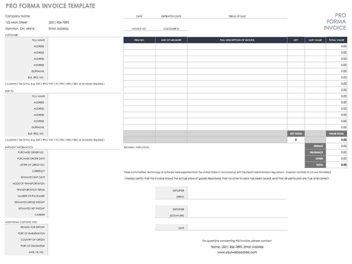 Free Excel Invoice Templates - Smartsheet Within Excel Invoice Template 2003