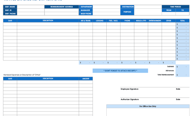 Free Expense Report Templates Smartsheet pertaining to Expense Report Spreadsheet Template
