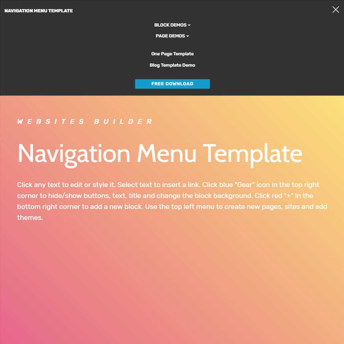 Free Html Bootstrap Navigation Menu Template With Regard To Free Html Menu Templates