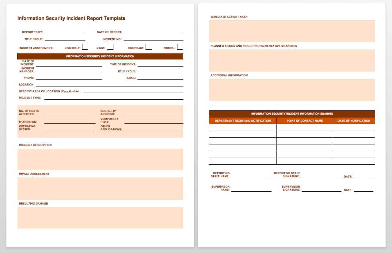 Free Incident Report Templates & Forms | Smartsheet For Fault Report Template Word