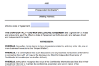 Free Independent Contractor Non-Disclosure Agreement (Nda pertaining to Free Confidentiality Agreement Template Download