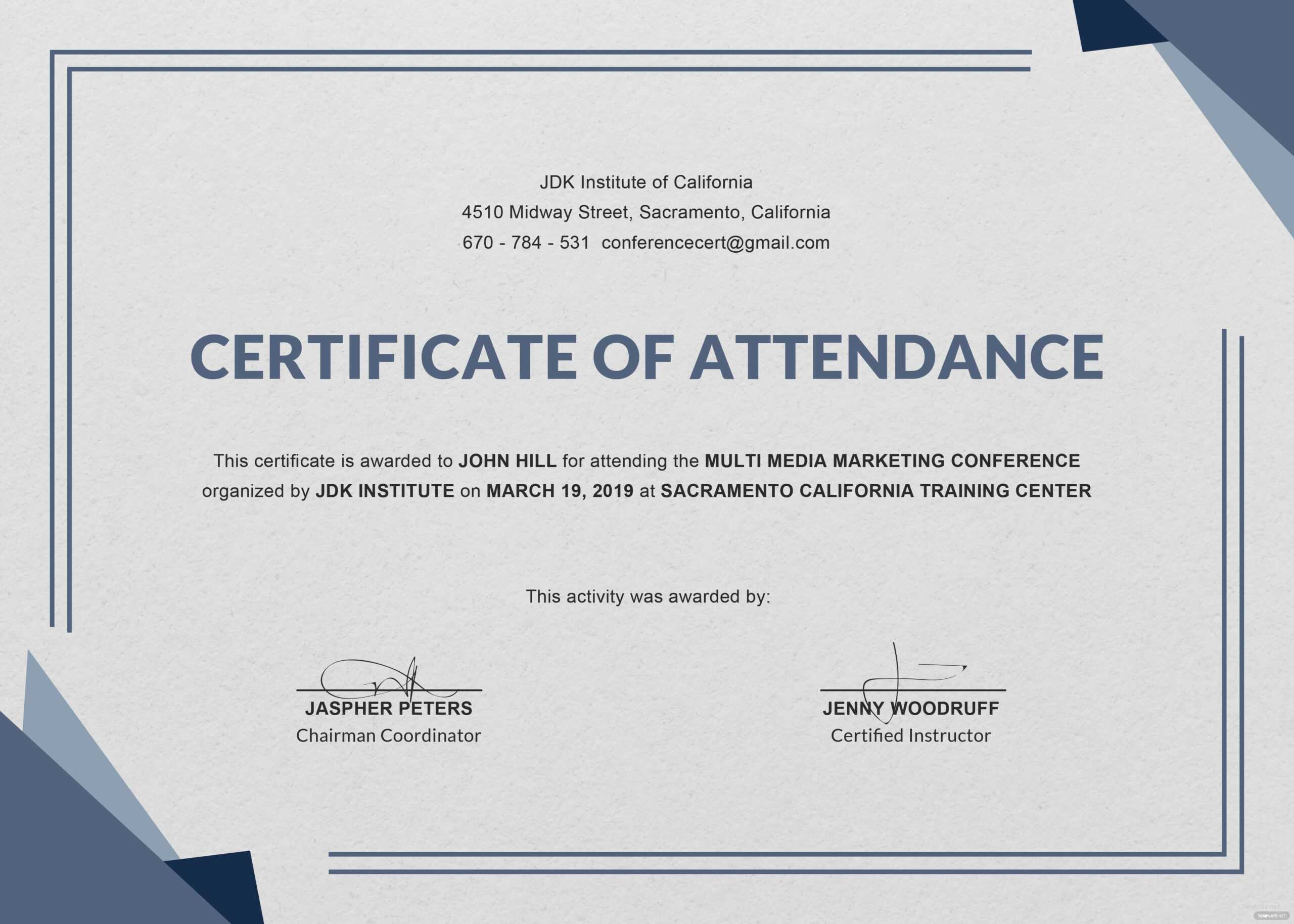 Free Knowledge Sharing From The International Trainer And Within Conference Certificate Of Attendance Template