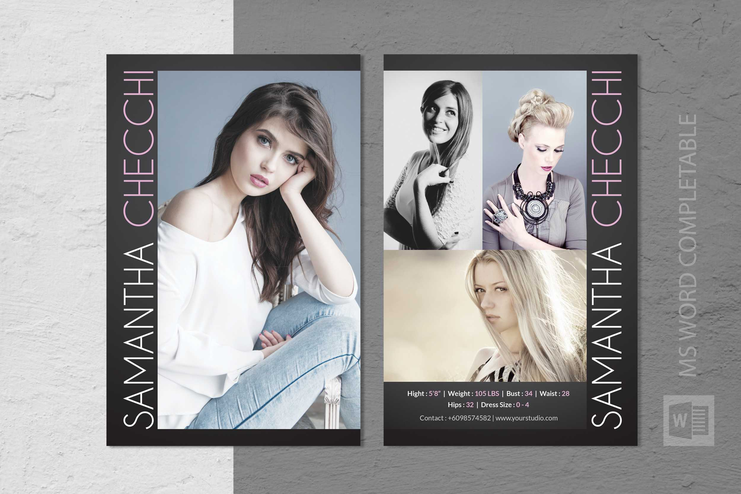 Free Model Comp Card Templates - C Punkt Within Free Zed Card Template