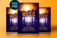 Free Music Party Flyer Templaterome Creation On Dribbble with Free Birthday Flyer Templates