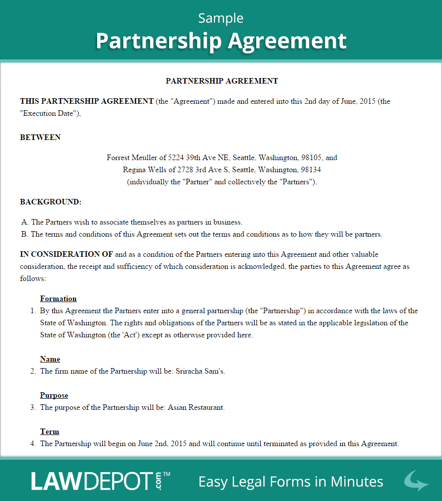 Free Partnership Agreement - Create, Download, And Print Intended For Contract For Business Partnership Template