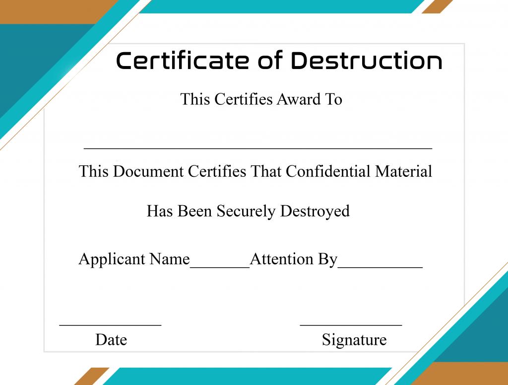 Free Printable Certificate Of Destruction Sample For Free Certificate Of Destruction Template