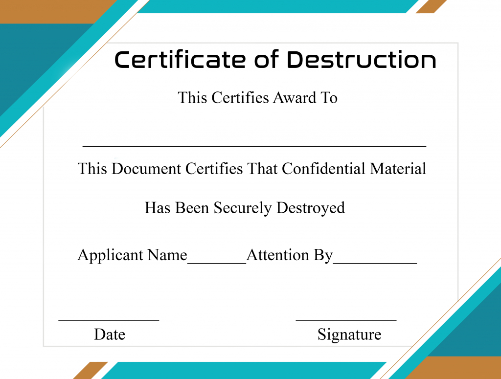 Free Printable Certificate Of Destruction Sample Throughout Destruction Certificate Template