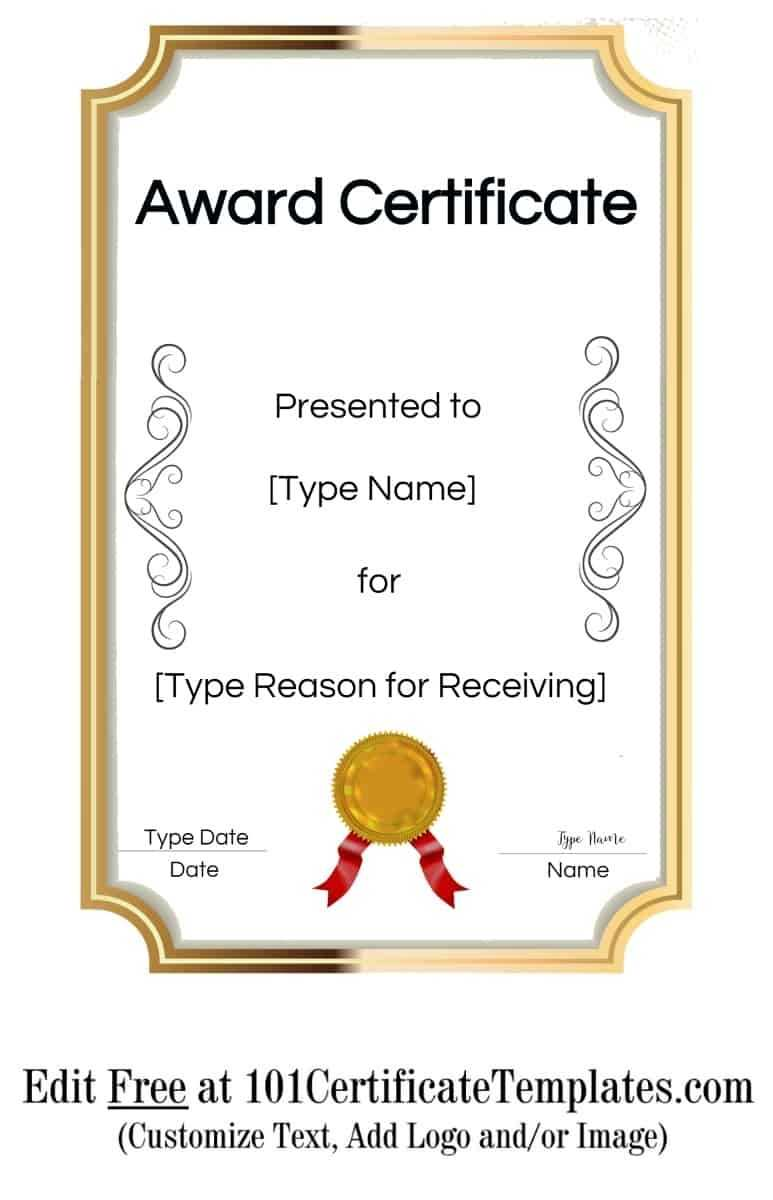 Free Printable Certificate Templates | Customize Online With Pertaining To Free Printable Blank Award Certificate Templates