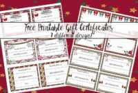 Free Printable Christmas Gift Certificates: 7 Designs, Pick regarding Free Christmas Gift Certificate Templates