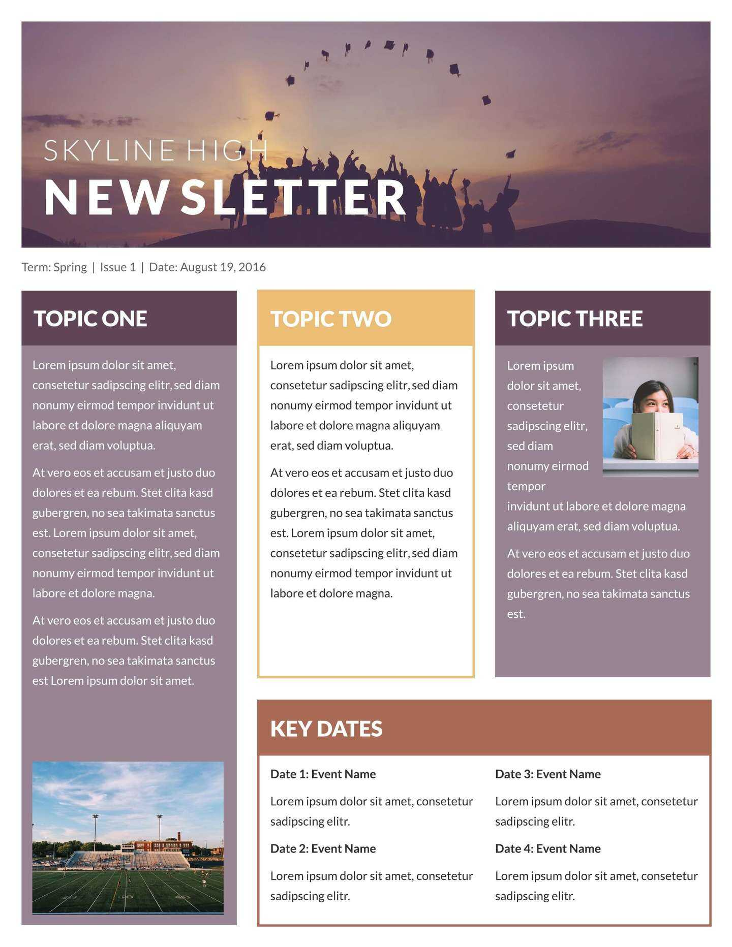 Free Printable Newsletter Templates & Examples | Lucidpress Inside Free Business Newsletter Templates For Microsoft Word