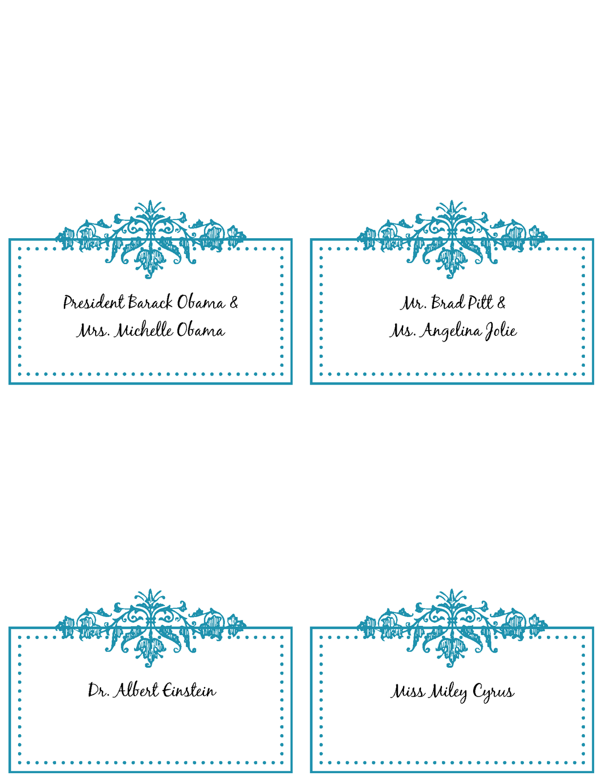 Free Printable Place Card Templates ] - Place Cards Please With Free Place Card Templates 6 Per Page