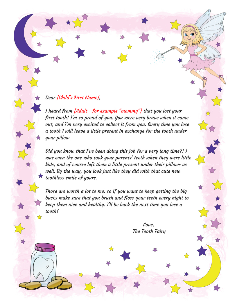 Free Printable Tooth Fairy Letter Template ] - Tooth Fairy Inside Free Tooth Fairy Certificate Template