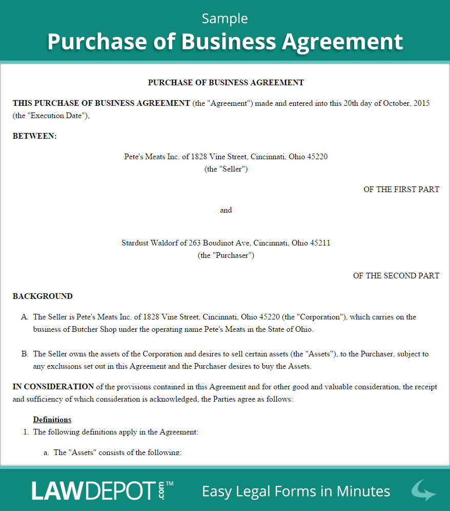 Free Purchase Of Business Agreement - Create, Download, And Throughout Free Business Purchase Agreement Template