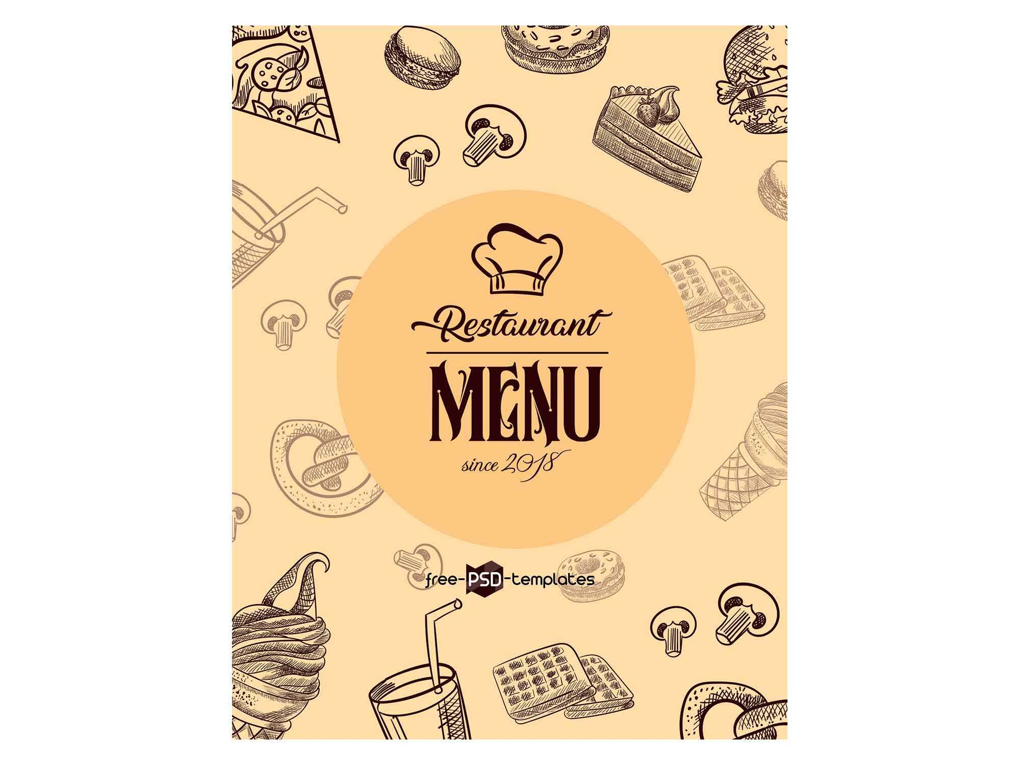 Free Restaurant Menu Template (Psd) Inside Editable Menu Templates Free