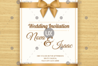 Free Retro Wedding Invitation Card Template Design Vector With A Ribbon in Church Invite Cards Template
