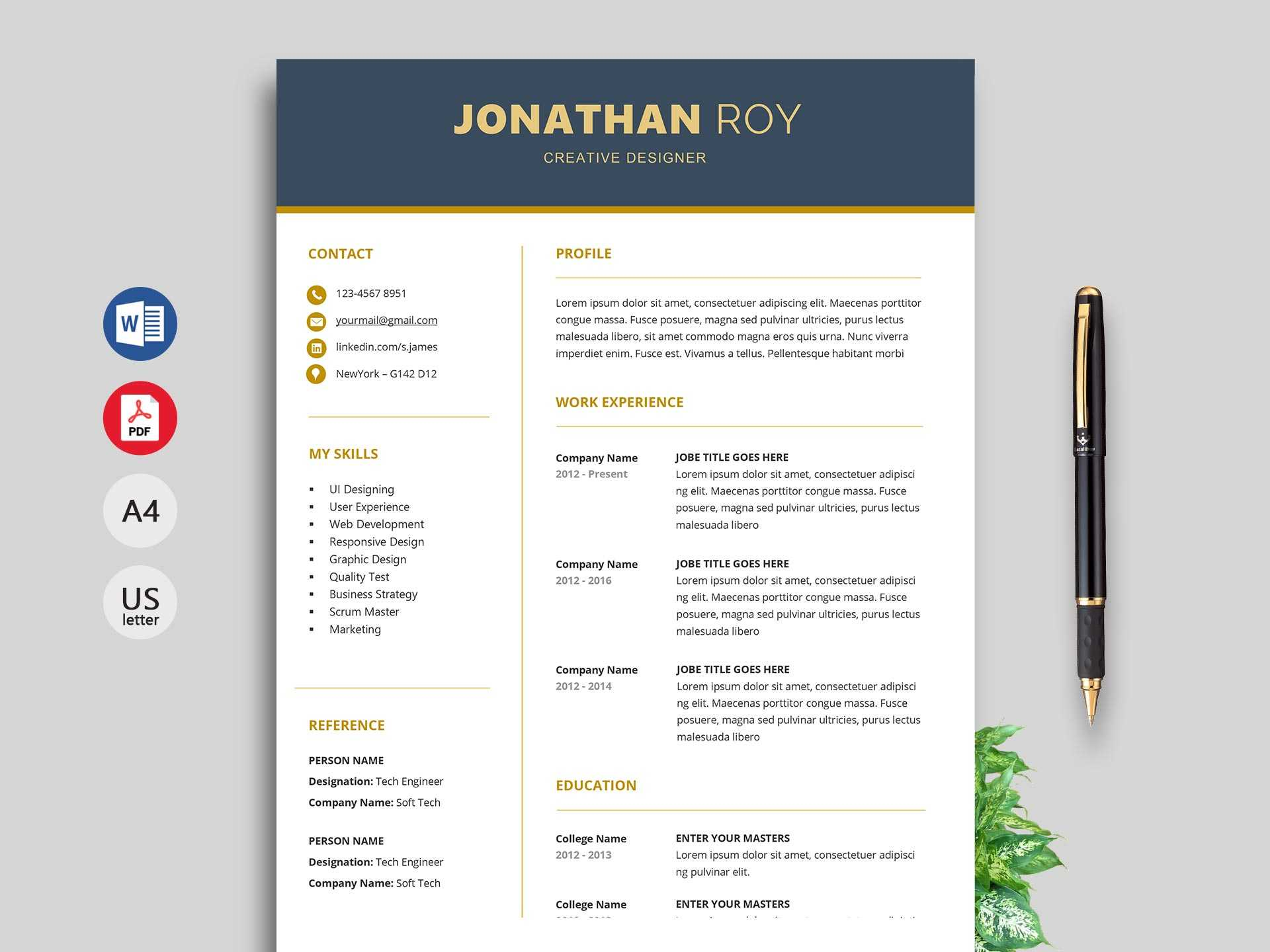 Free Simple Resume & Cv Templates Word Format 2020 | Resumekraft In Free Downloadable Resume Templates For Word
