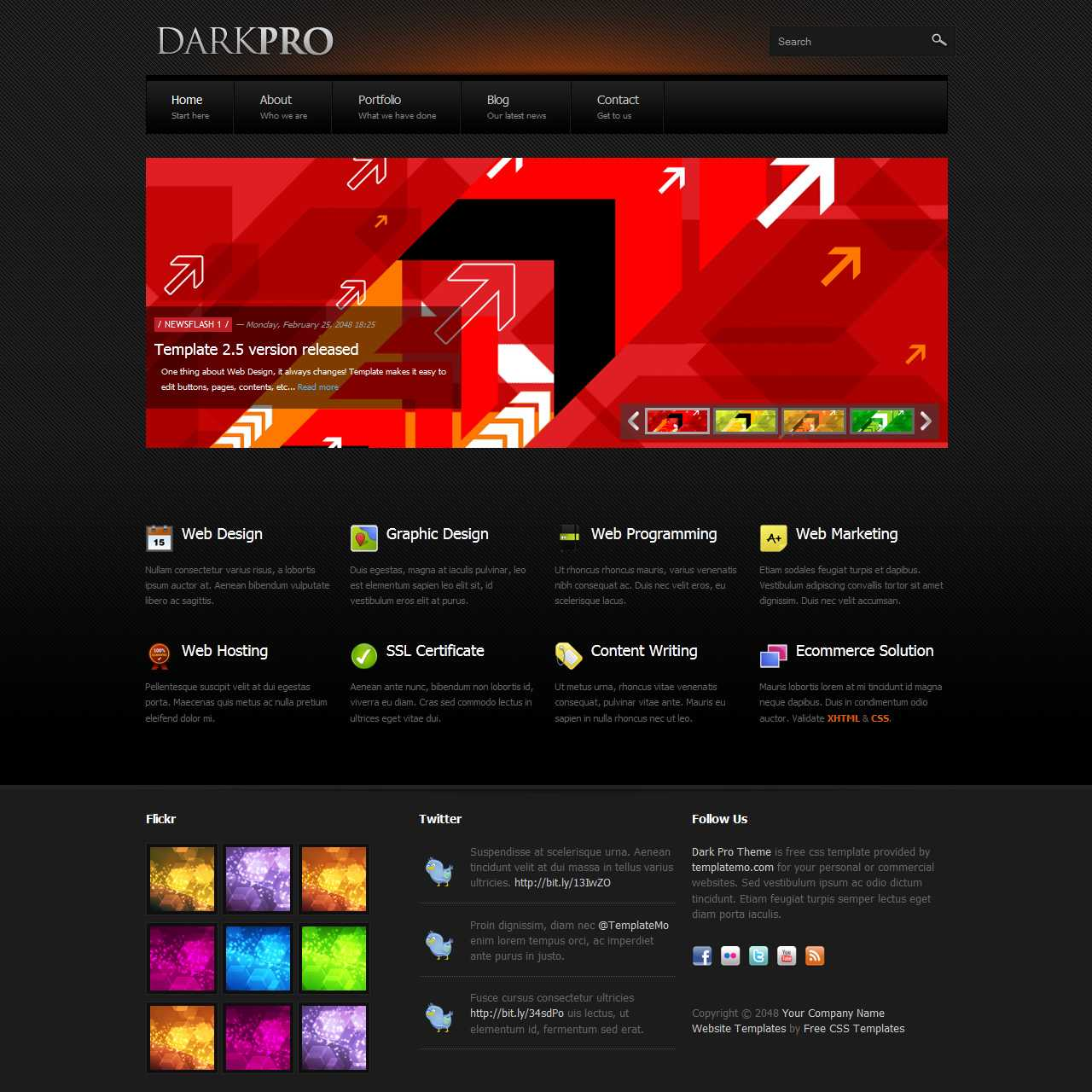 Free Template 347 Dark Pro In Free Css Website Templates With Drop Down Menu