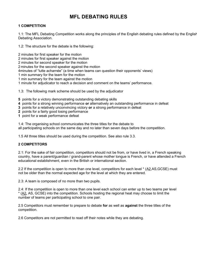 French Debating Rules And Format Intended For Debate Notes Template