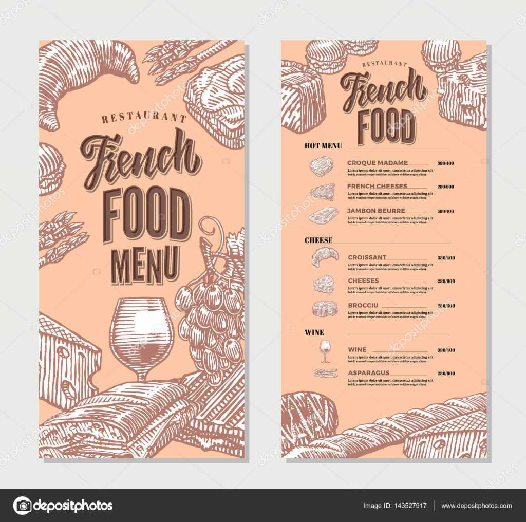French Food Restaurant Menu Vintage Template — Stock Vector With Regard To French Cafe Menu Template