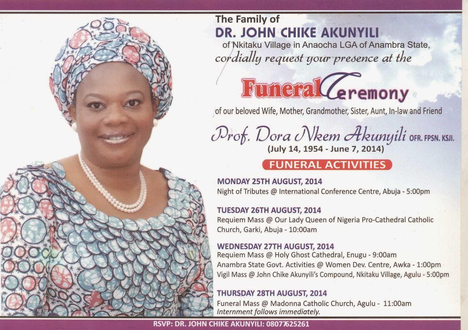 Funeral Invitation Card Of Prof Dora Nkem Akunyili Released Pertaining To Funeral Invitation Card Template