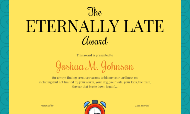 Funny Certificate Template with regard to Fun Certificate Templates