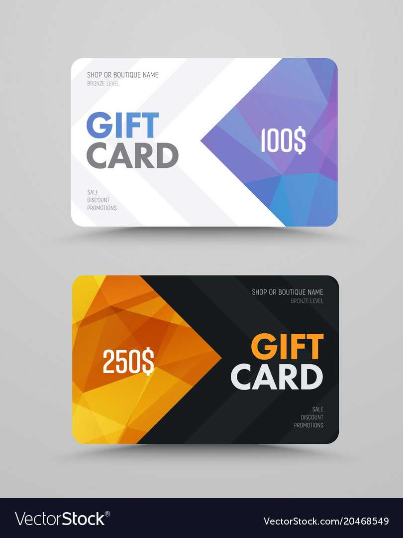 Gift Card Design With Polygonal Abstract Elements Pertaining To Credit Card Templates For Sale