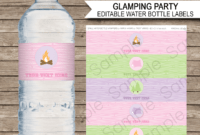 Glamping Party Water Bottle Labels Template pertaining to Free Printable Water Bottle Label Template