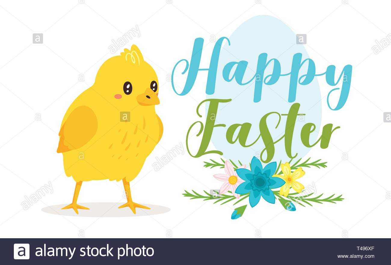 Happy Easter Design Template For Greeting Card Or Banner Inside Easter Chick Card Template