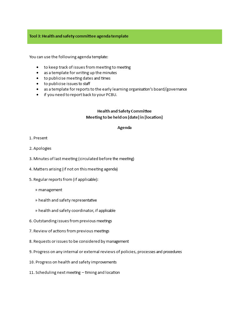 Health And Safety Committee Meeting Agenda | Templates At Intended For Committee Meeting Agenda Template