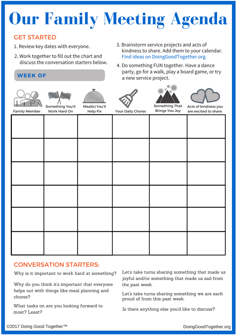 Host A Family Meeting — Doing Good Together™ With Family Meeting Agenda Template