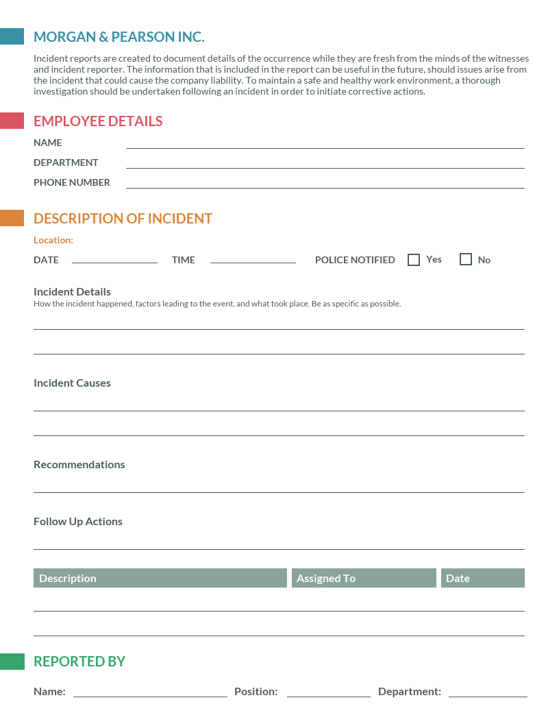 How To Write An Effective Incident Report [Examples + In Employee Incident Report Templates