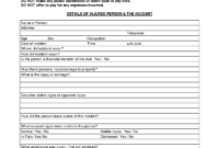 Injury Incident Report Template Word Form Example Work in Fault Report Template Word