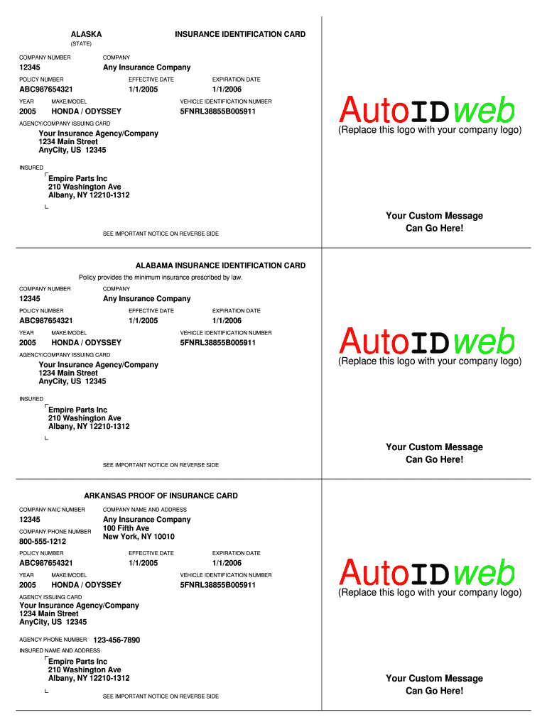 Insurance Card Template - Fill Online, Printable, Fillable Intended For Fake Car Insurance Card Template