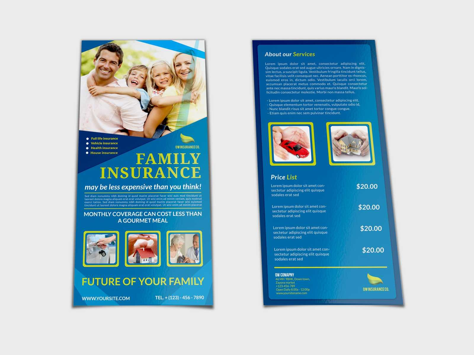 Insurance Flyer Template Dl Sizeowpictures On Dribbble Inside Dl Size Flyer Template