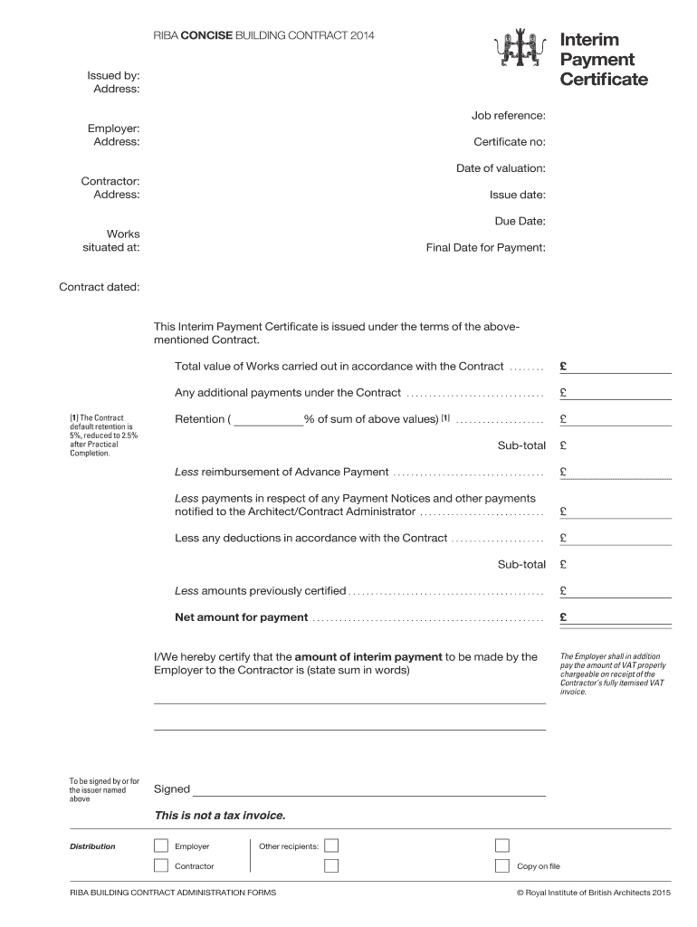 Interim Certificate - Fill Online, Printable, Fillable With Regard To Construction Payment Certificate Template