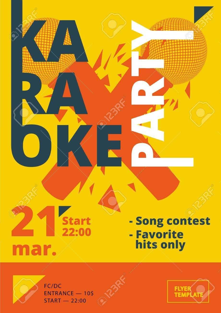 Karaoke Party Poster Or Flyer Template In A4 Size. Song Contest.. Within Contest Flyer Template