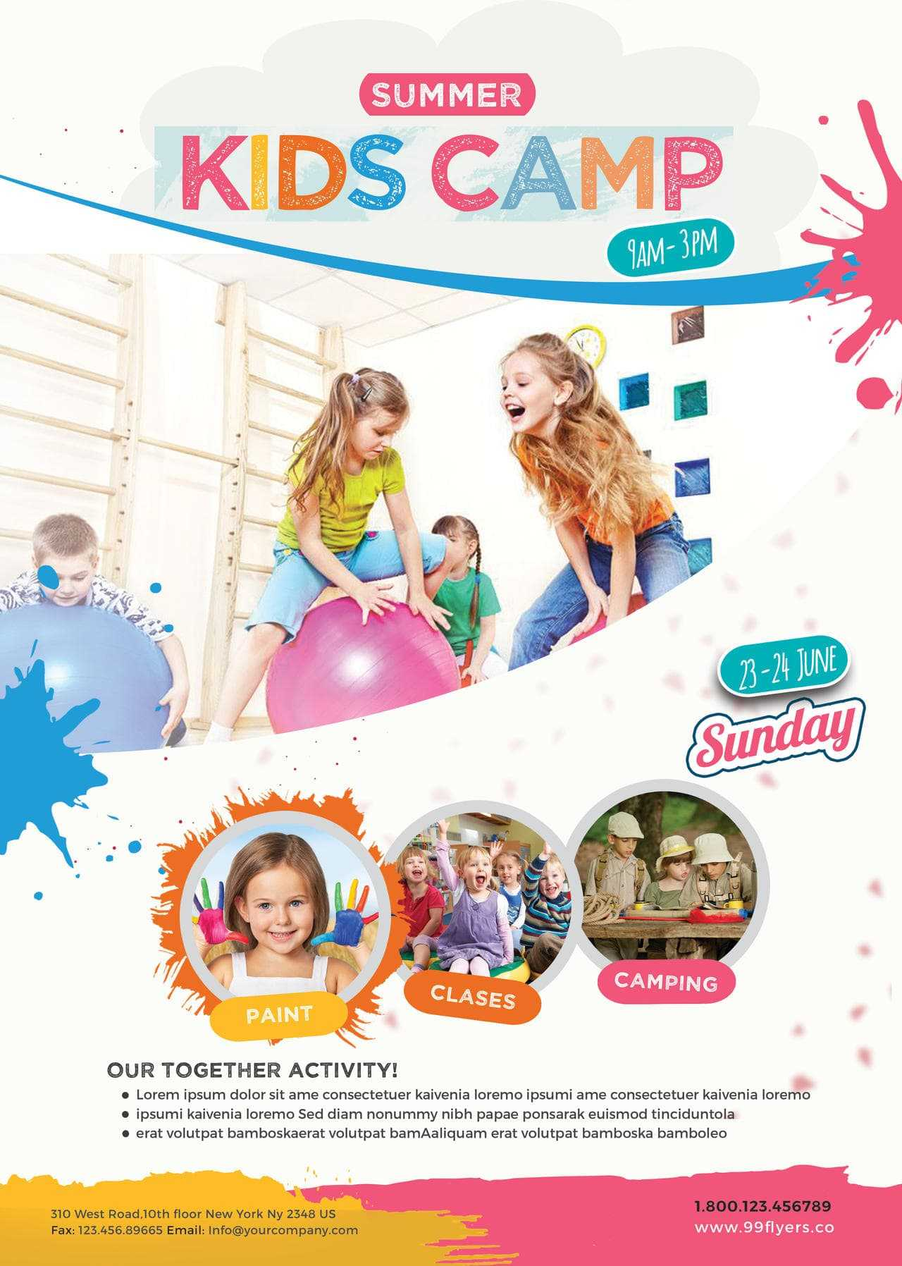 Kids Summer Camp Free Psd Flyer Template - Free Psd Flyer In Free Summer Camp Flyer Template