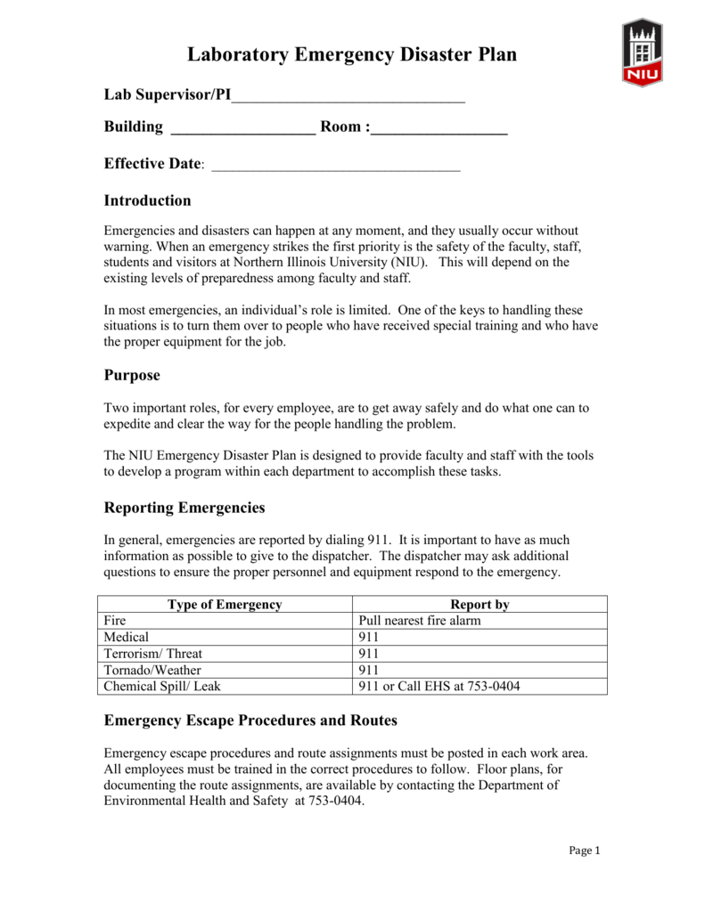 Lab Emergency Response Plan Template For Emergency Operations Plan Template
