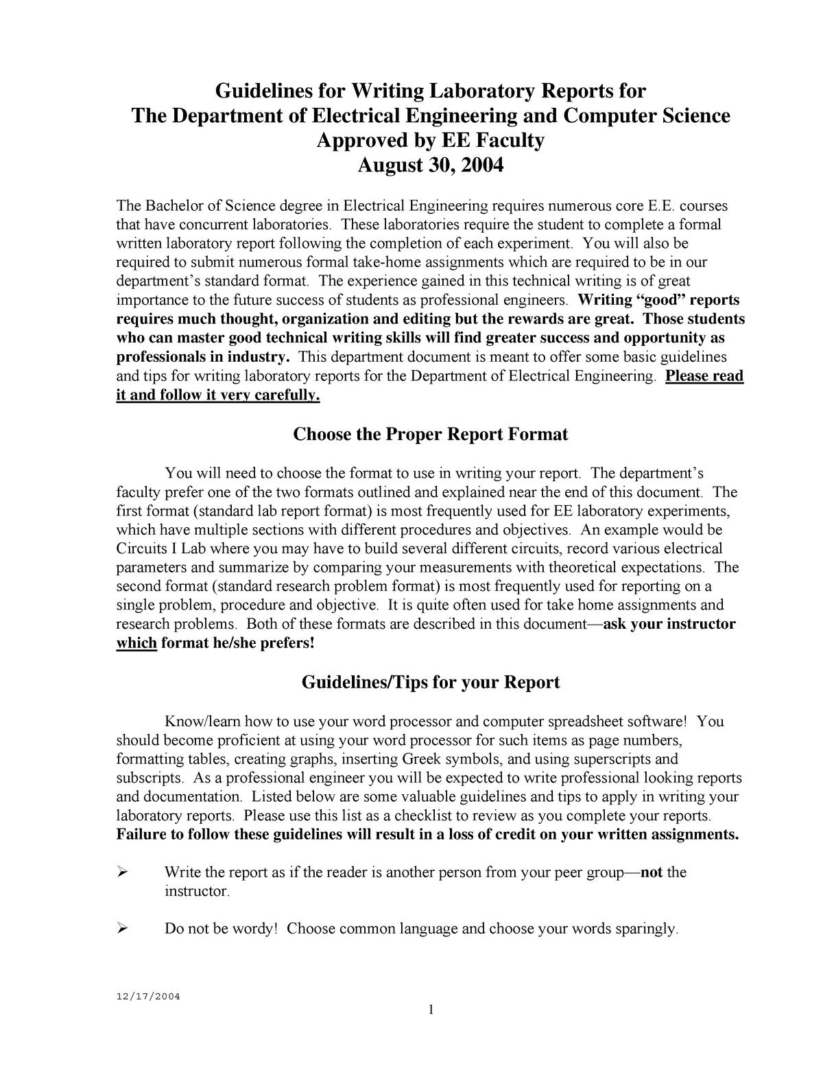 Lab Report Format - Ecte290 - Uow - Studocu In Engineering Lab Report Template