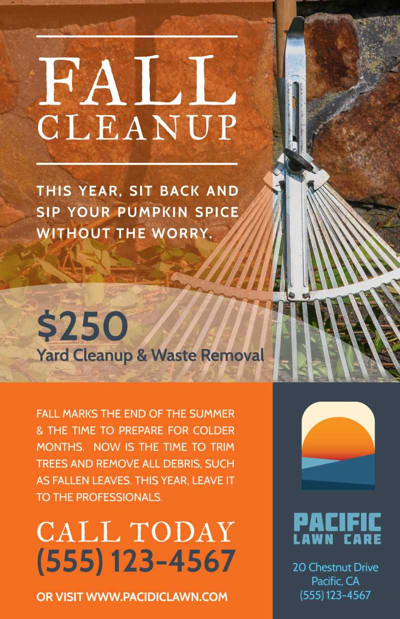Lawn Mowing Fall Cleanup Poster Template Intended For Fall Clean Up Flyer Template