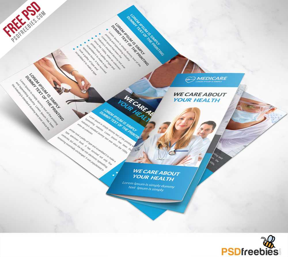 Medical Care And Hospital Trifold Brochure Template Free Psd Within Free Health Flyer Templates