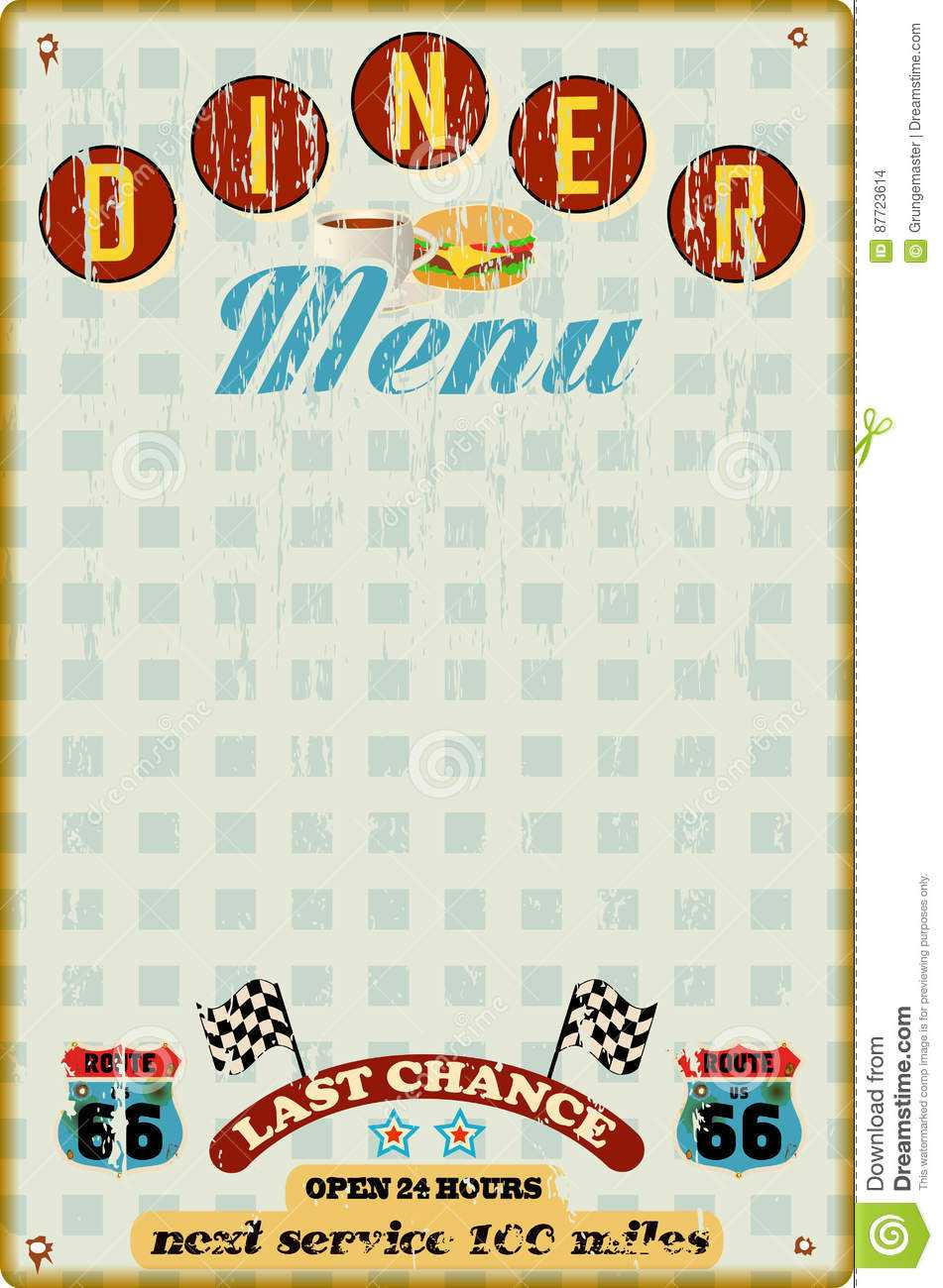 Menu Template For Diner Stock Vector. Illustration Of Menu Inside Diner Menu Template